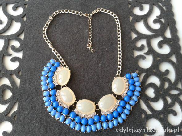 Naszyjniki Naszyjnik perłowo niebieski