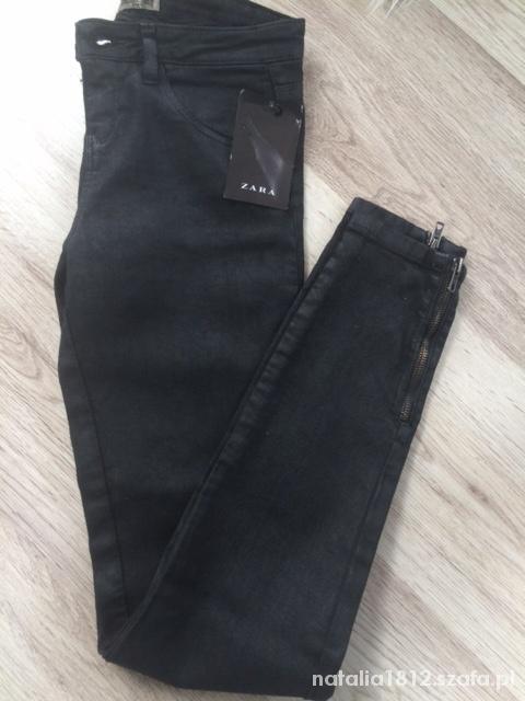 ZARA czarne woskowane zamki S