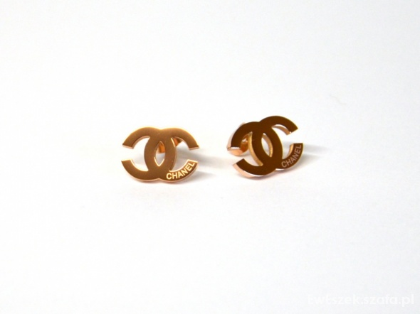 Kolczyki Chanel stal złoto