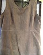 Skórzana prosta brązowa sukienka s m