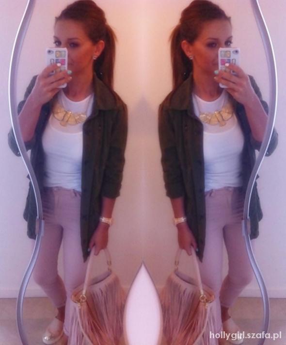 Mój styl khaki pink white