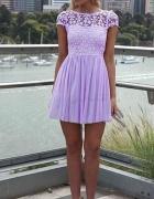 Piękna sukienka w pastelowych kolorach Fioletowy S