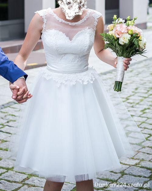 dd8b87e91f Krótka suknia ślubna koronka rozkloszowana tiul34s w Suknie ślubne ...