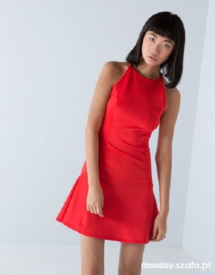 5afa43ab0c czerwona krótka sukienka z falbanka bershka w Suknie i sukienki ...
