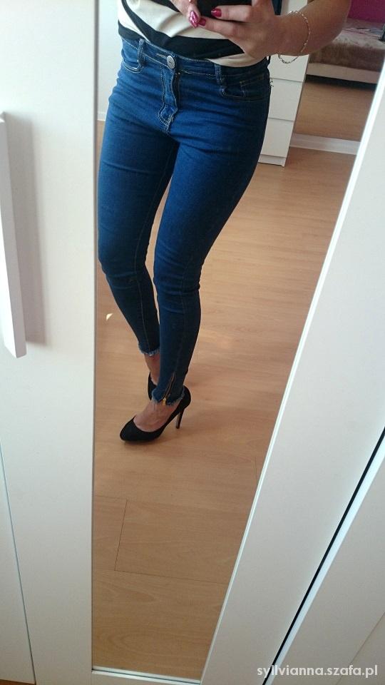 Sheinside pl Zip Na Jeansy Dopasowane Szafa W Nogawkach Spodnie r8qSrwB