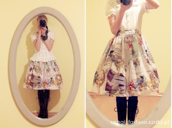 Spódnice Spódniczka z ptaki i klatki rozkloszowana lolita