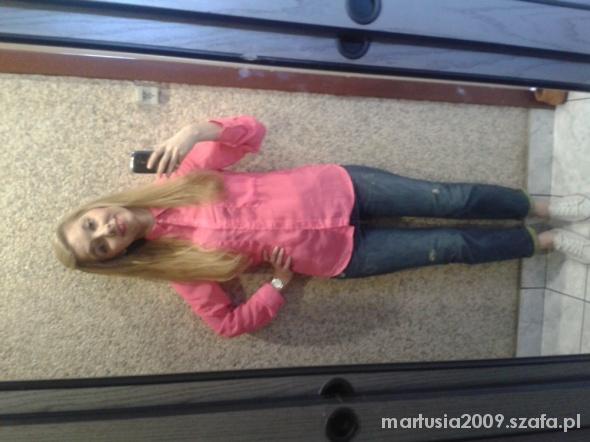 Codzienne Boyfriendy Zara różowa koszula mgiełka