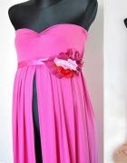 Długa suknia z rozcięciem ciążowa