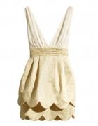 sukienka h&m concious złota nude falbanki 38