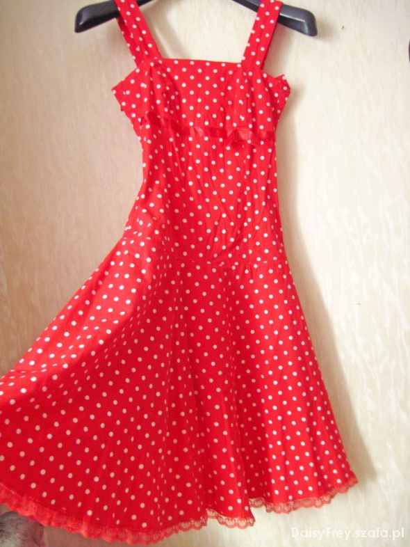 27ca4b05 Czerwona sukienka w białe kropki S 36 groszki w Suknie i sukienki ...