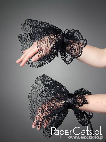 Pozostałe Czarne koronkowe rękawki Papercats