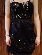 Sukienka czarna koronka tiul bralet XS