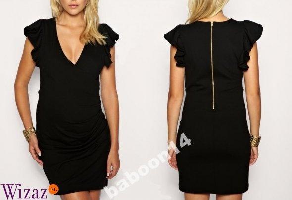 Czarna sukienka z falbankami na rękawach w Ubrania Szafa.pl