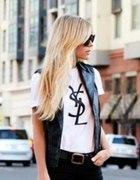 Piekna modna bluzka nadruk YSL Yves Saint Laurent