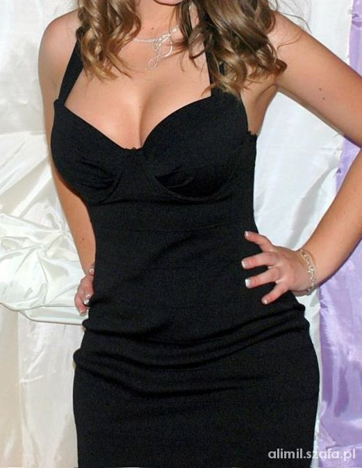 104006c3d1 Suknie i sukienki Mała czarna mini bandażowa sukienka River Island M