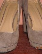 Bezowo brazowe zamszowe buty 39