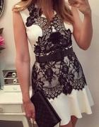 sukienka z koronką biala