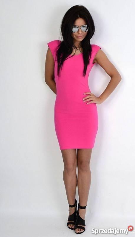 Na specjalne okazje sukienka plecy łańcuszki różowa landrynkowa
