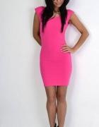 sukienka plecy łańcuszki różowa landrynkowa...