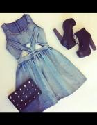 jeansowa sukienka na ramiączka
