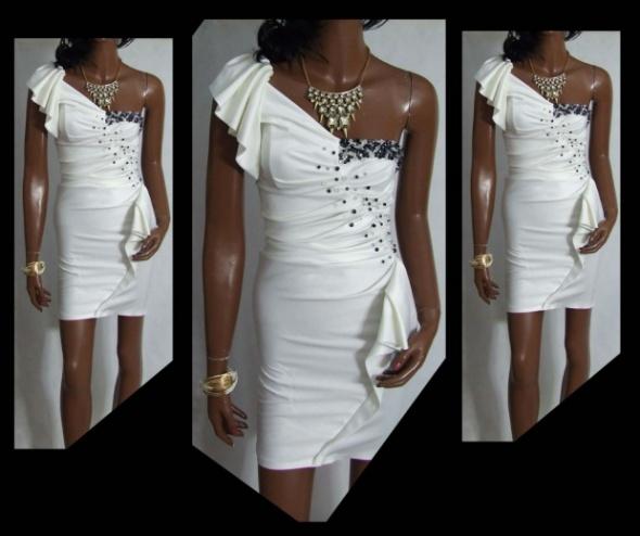 Na specjalne okazje sukienka wesele biała falbanka koraliki 36 S