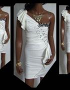 sukienka wesele biała falbanka koraliki 36 S
