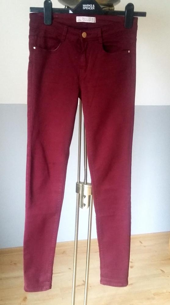 burgundowe spodnie zara z suwakami