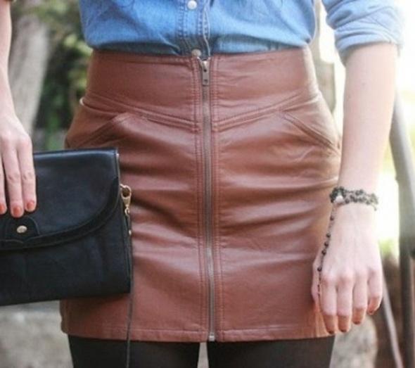 Spódnice Spódnica skórzana H&M hm brązowa xs