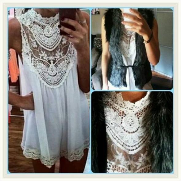 biała tunika mini sukienka koronka koronkowa