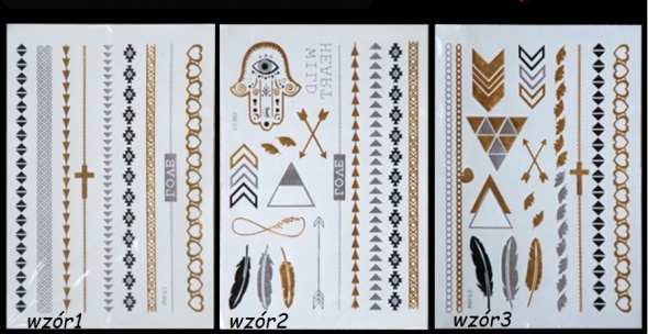 Metaliczne Tatuaże Złote Srebrne Flash Tattoo W Bransoletki
