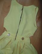 Sukienka żółta S NOWA odkryte boczki HIT