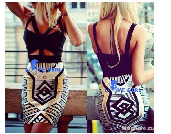 sukienka bandage aztec aztecka złota czarna