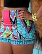 Spodenki szorty kolorowe aztec wysoki stan kolor