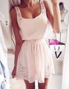 Kremowa różowa mini wiązana sukienka na lato S XL