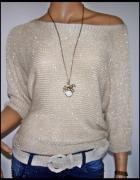 Sweter oversize nietoperz ze złotą nitką...