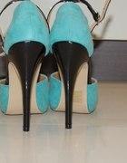 Turkusowe buty szpilki sandały 36