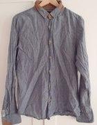 Niebieska koszula z brązowymi wstawkami M