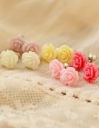 urocze kolczyki różyczki pastele róże