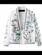 Bomber jacket zara floral print paw pastel biały