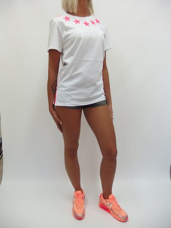 Codzienne tshirt neonowe gwiazdki zamki streetwear szorty ni