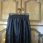 Nowa czarna skórzana spódnica na gumie wycięcia wz