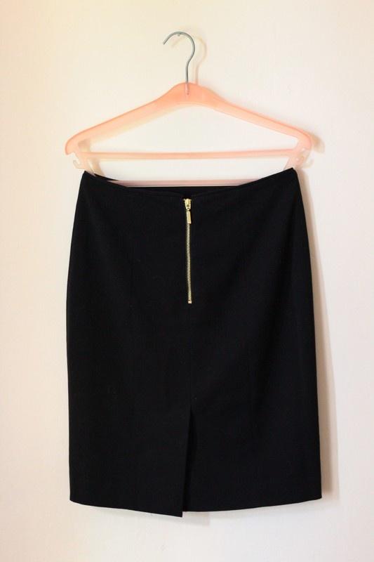 Spódnice h&m spódnica czarna elegancka z zamkiem zip z tylu