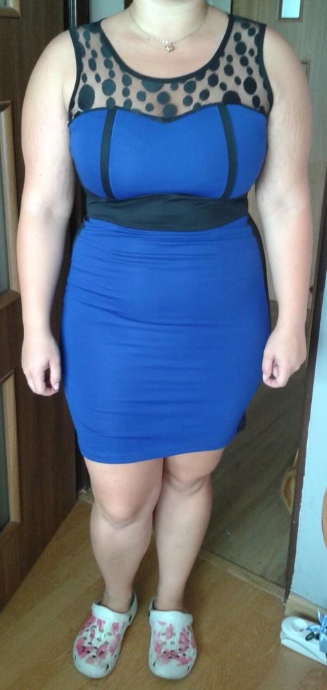 4813b50d0f chabrowa niebieski sukienka elegancka 42 44 w Suknie i sukienki ...