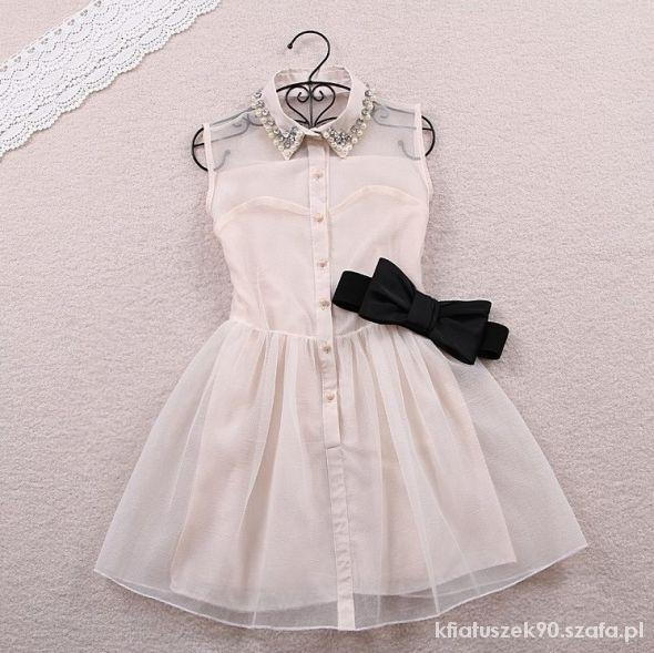 sukienka biała i czarna kołnierzyk free wysyłka