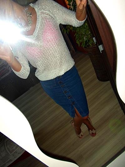 biały ze srebrem sweter F&F