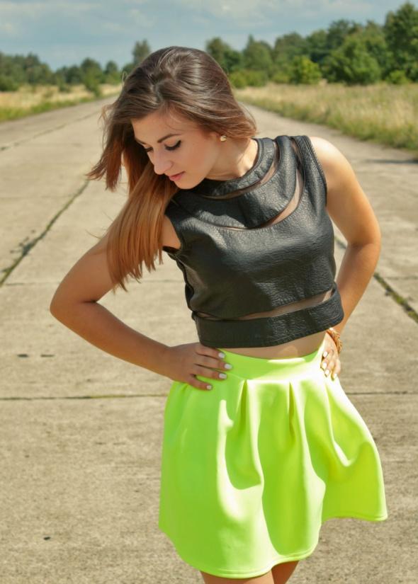 Blogerek neon yellow and crop top