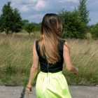 neon yellow and crop top