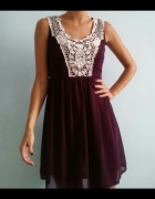 New Look zwiewna sukienka z haftem koronką