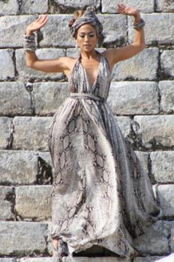 Sukienka maxi wzór wężowy