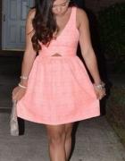 Sukienka zara morelowa neon rozkloszowana żakardow